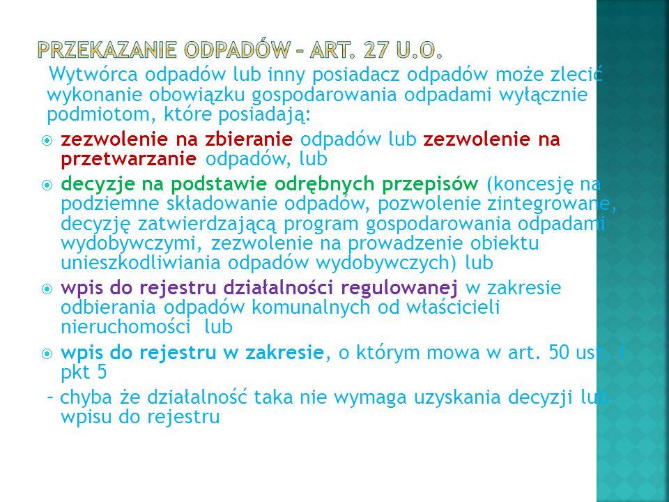 Przekazanie odpadów – art. 27 u.o.