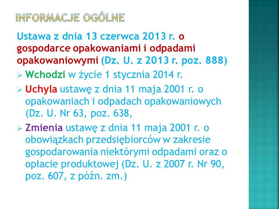 Informacje ogólne Ustawa z dnia 13 czerwca 2013 r. o gospodarce opakowaniami i odpadami opakowaniowymi (Dz. U. z 2013 r. poz. 888)