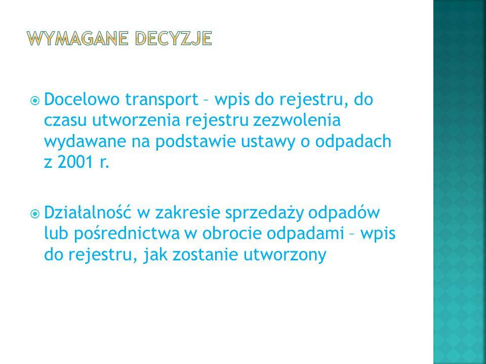 Wymagane decyzje Docelowo transport – wpis do rejestru, do czasu utworzenia rejestru zezwolenia wydawane na podstawie ustawy o odpadach z 2001 r.