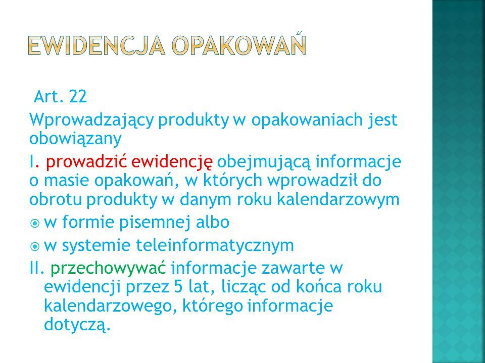 Ewidencja opakowań Art. 22