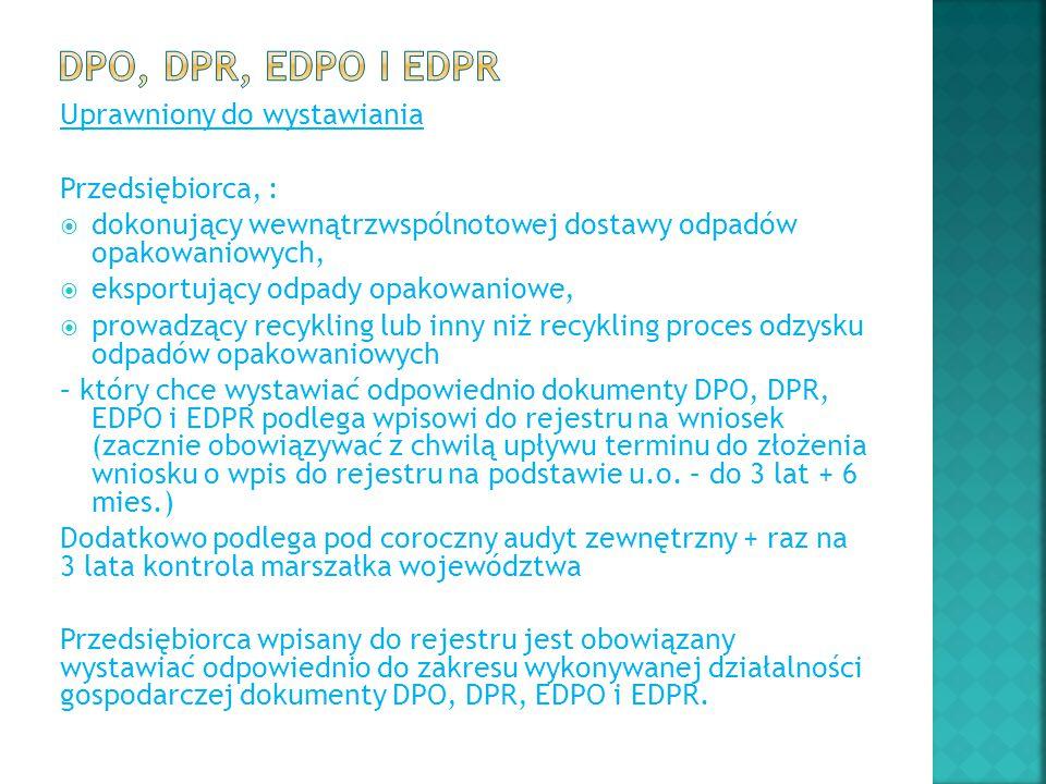 DPO, DPR, EDPO i EDPR Uprawniony do wystawiania Przedsiębiorca, :