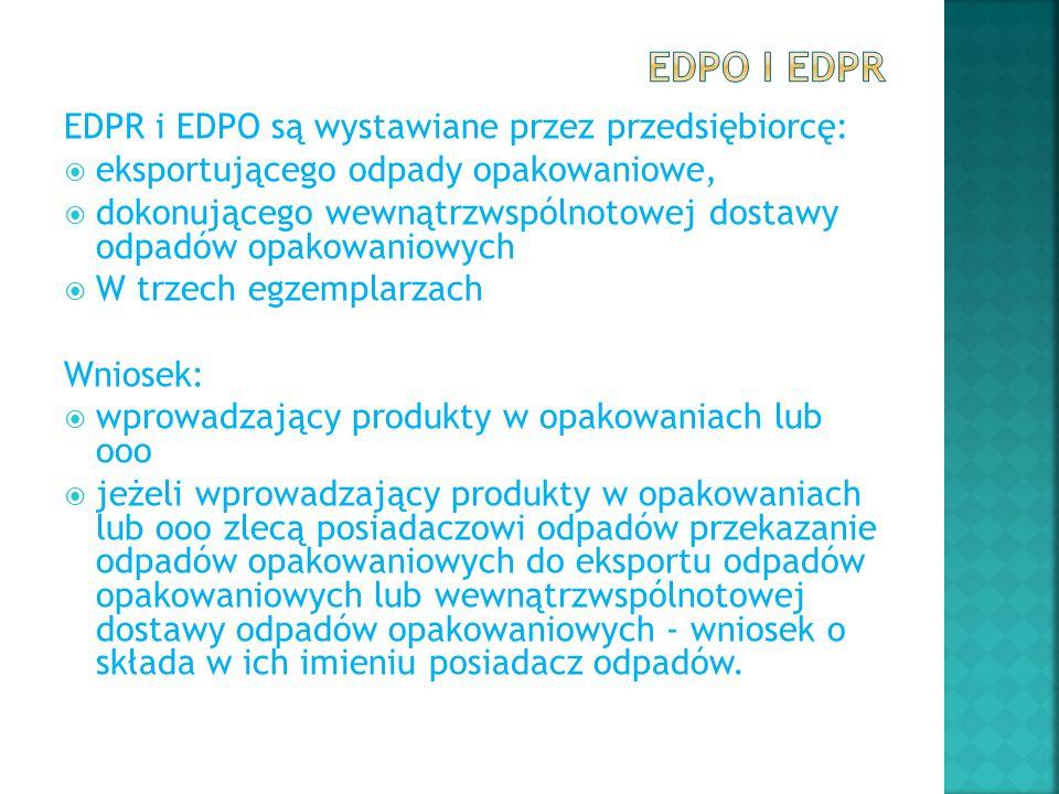EDPO i EDPR EDPR i EDPO są wystawiane przez przedsiębiorcę: