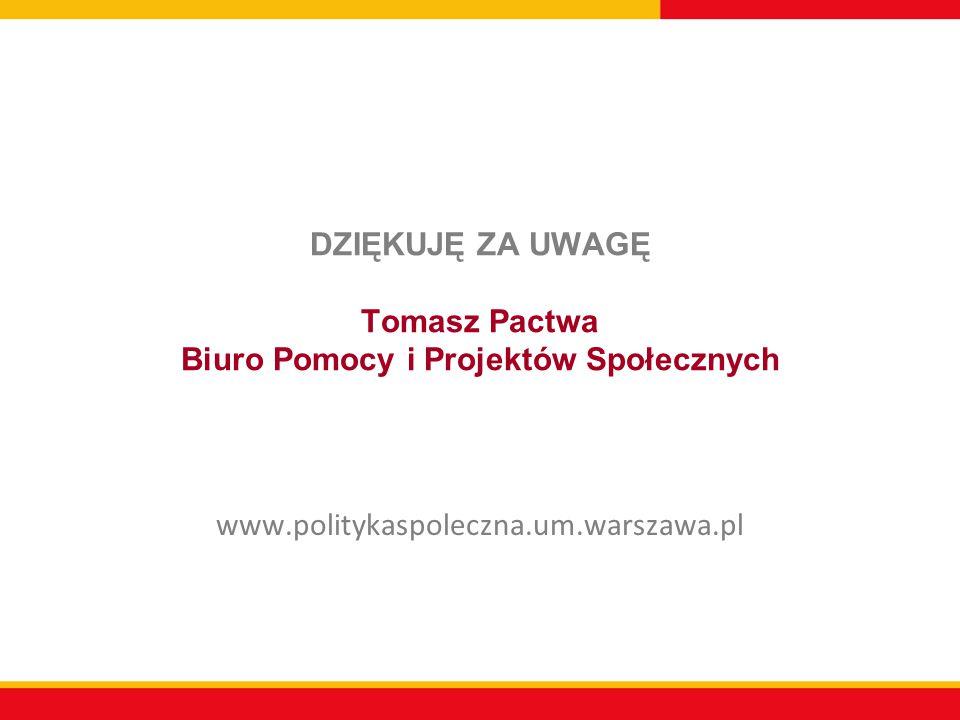 DZIĘKUJĘ ZA UWAGĘ Tomasz Pactwa Biuro Pomocy i Projektów Społecznych