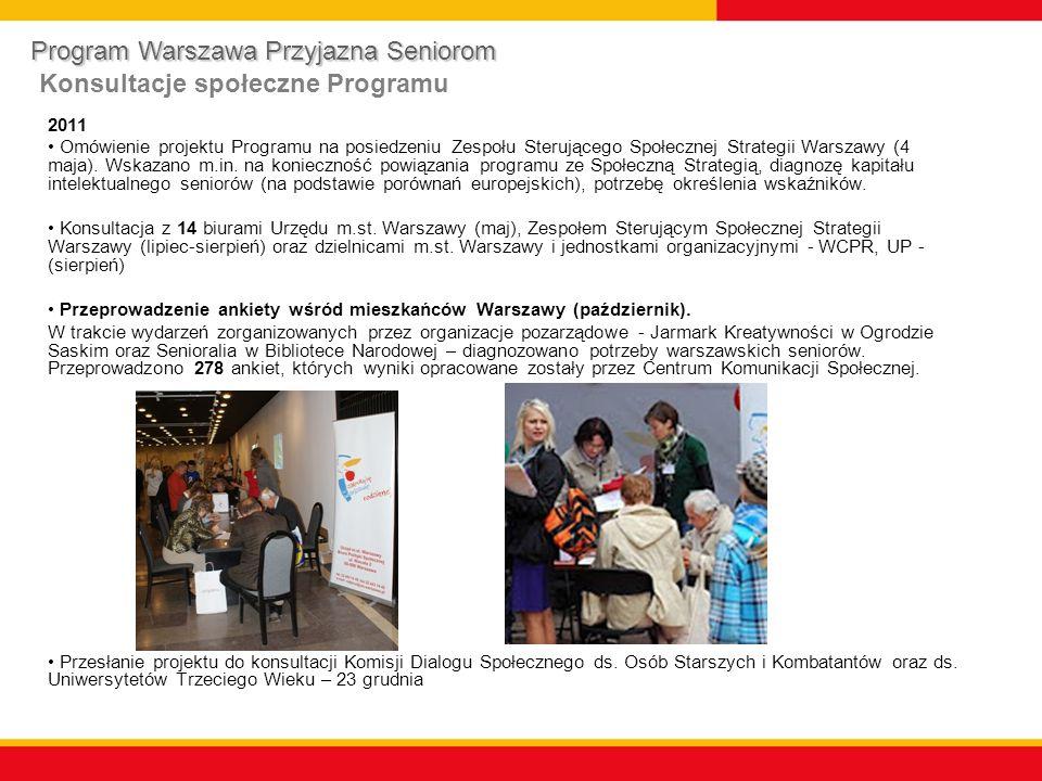 Program Warszawa Przyjazna Seniorom Konsultacje społeczne Programu