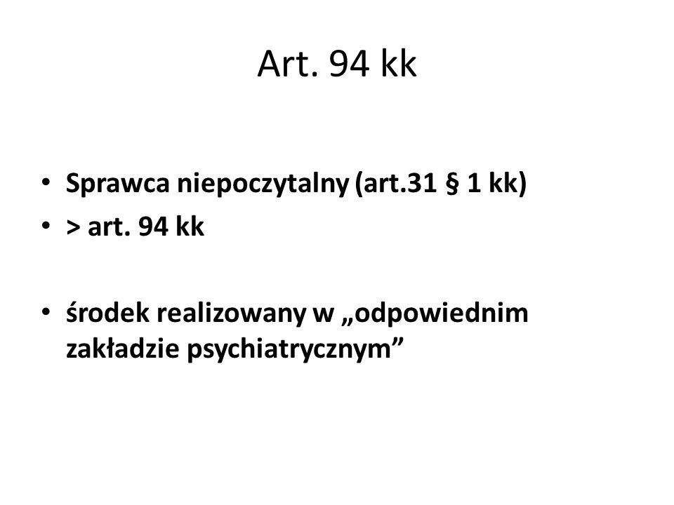 Art. 94 kk Sprawca niepoczytalny (art.31 § 1 kk) > art. 94 kk