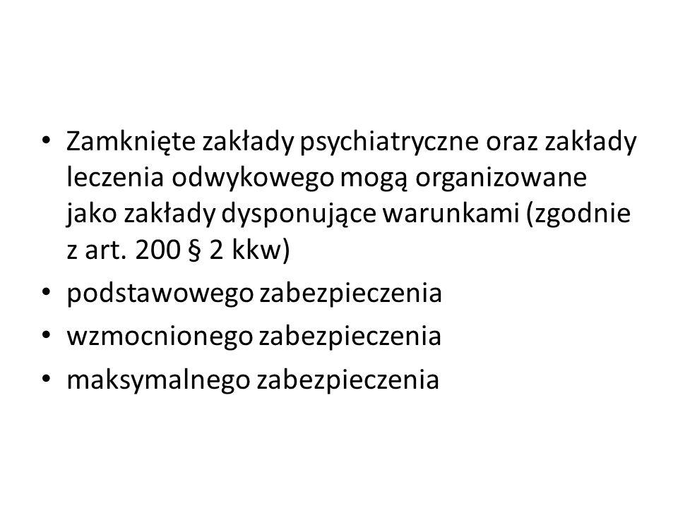 Zamknięte zakłady psychiatryczne oraz zakłady leczenia odwykowego mogą organizowane jako zakłady dysponujące warunkami (zgodnie z art. 200 § 2 kkw)