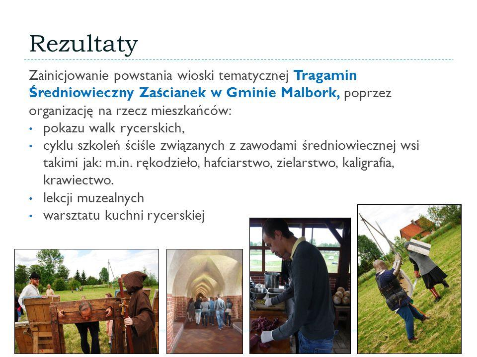 Rezultaty Zainicjowanie powstania wioski tematycznej Tragamin Średniowieczny Zaścianek w Gminie Malbork, poprzez organizację na rzecz mieszkańców: