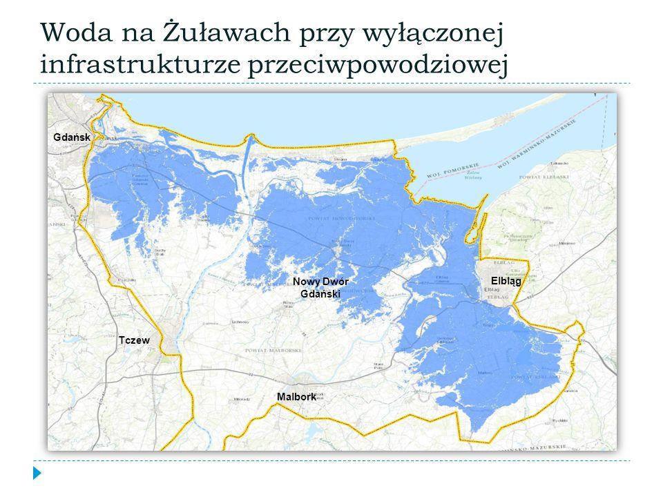 Woda na Żuławach przy wyłączonej infrastrukturze przeciwpowodziowej