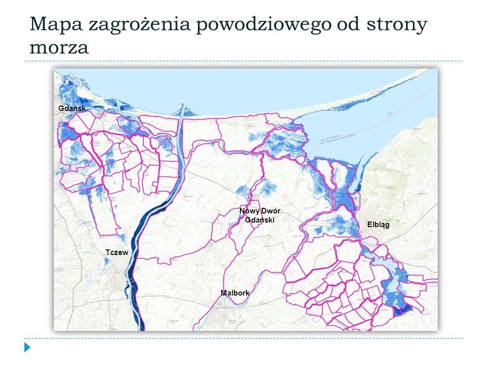 Mapa zagrożenia powodziowego od strony morza