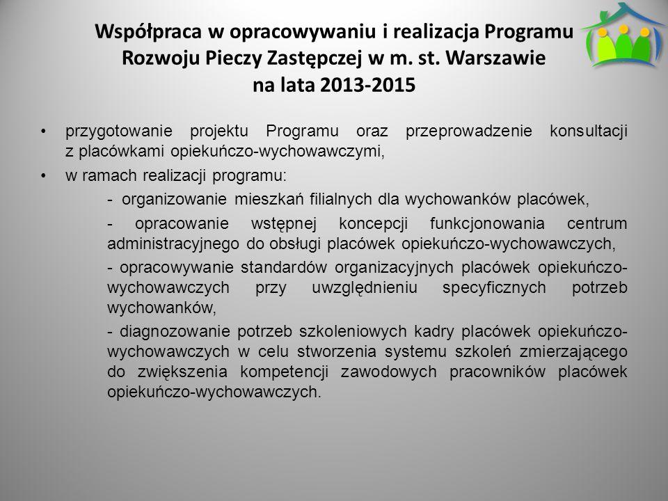 Współpraca w opracowywaniu i realizacja Programu Rozwoju Pieczy Zastępczej w m. st. Warszawie na lata 2013-2015