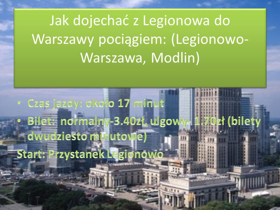 Jak dojechać z Legionowa do Warszawy pociągiem: (Legionowo-Warszawa, Modlin)