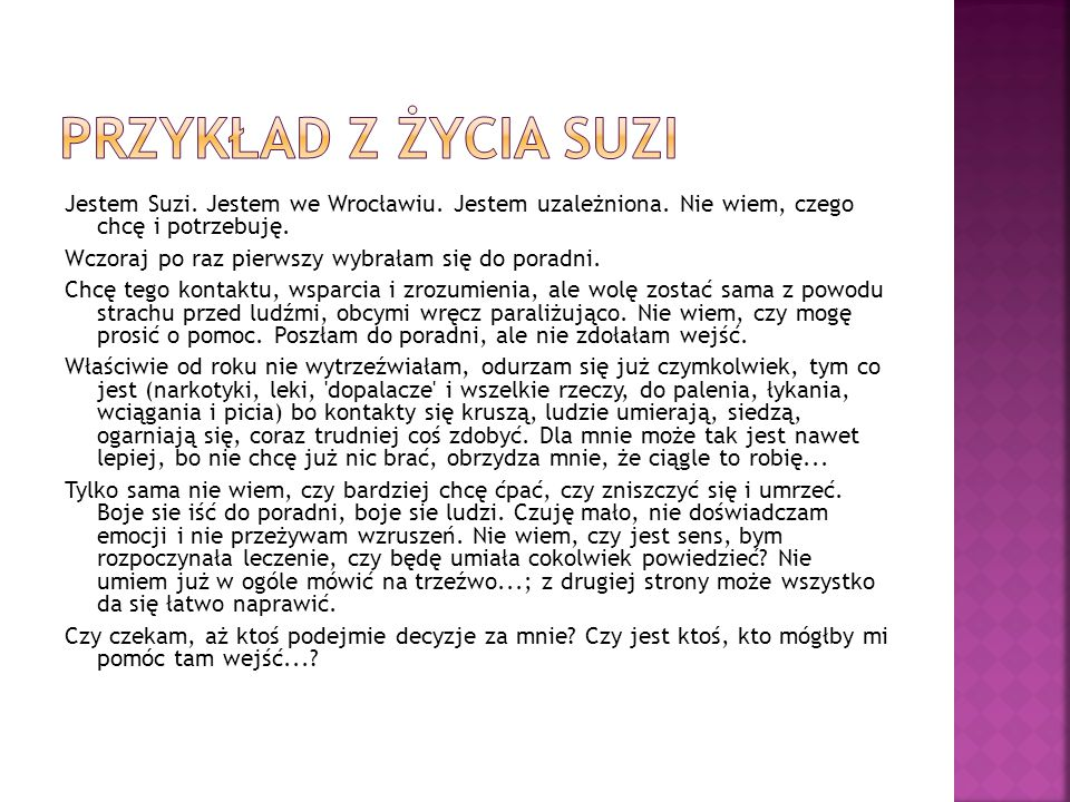 Przykład z życia Suzi