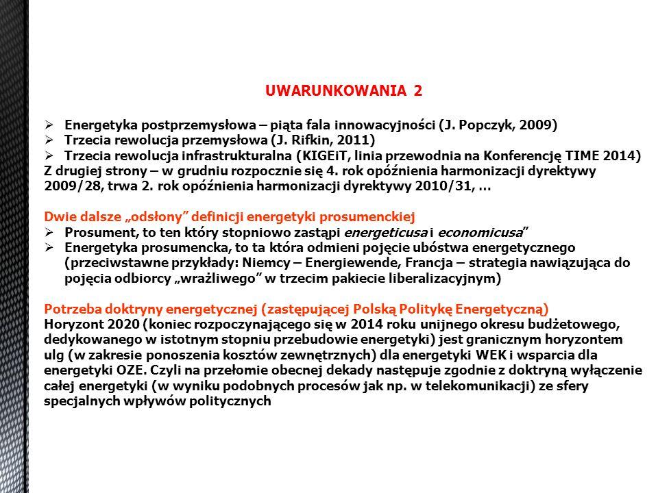 UWARUNKOWANIA 2 Energetyka postprzemysłowa – piąta fala innowacyjności (J. Popczyk, 2009) Trzecia rewolucja przemysłowa (J. Rifkin, 2011)