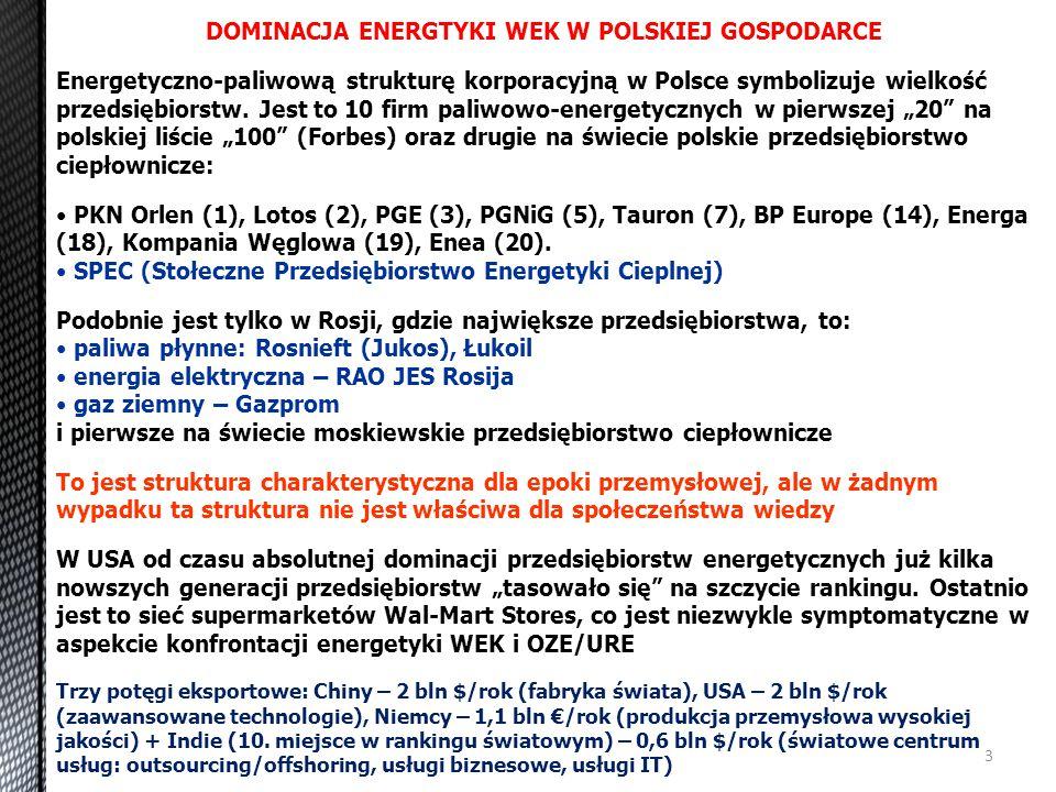 DOMINACJA ENERGTYKI WEK W POLSKIEJ GOSPODARCE