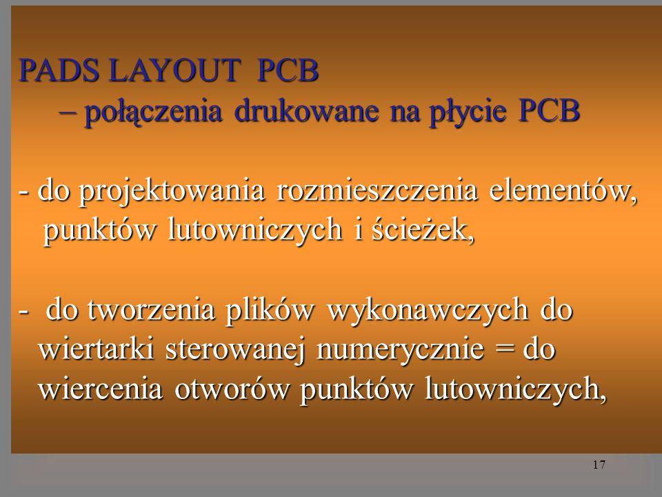 PADS LAYOUT PCB – połączenia drukowane na płycie PCB. do projektowania rozmieszczenia elementów, punktów lutowniczych i ścieżek,