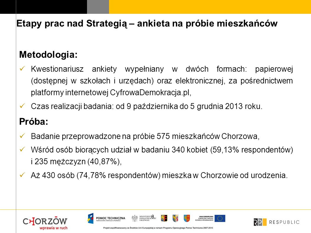 Etapy prac nad Strategią – ankieta na próbie mieszkańców