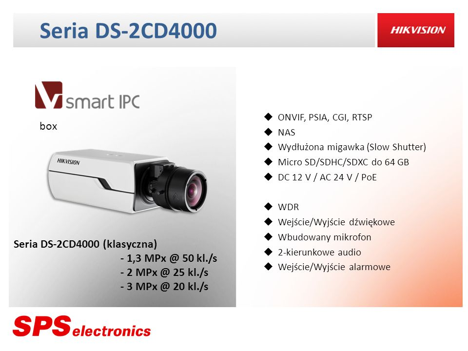 Seria DS-2CD4000 box Seria DS-2CD4000 (klasyczna) - 1,3 MPx @ 50 kl./s