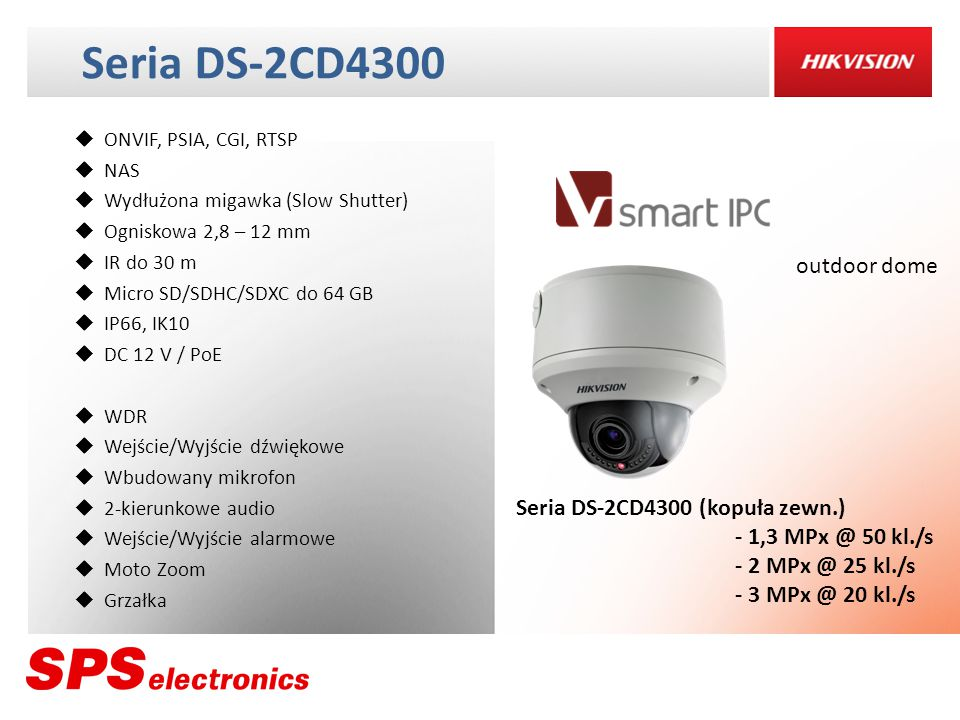 Seria DS-2CD4300 outdoor dome Seria DS-2CD4300 (kopuła zewn.)