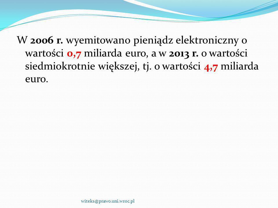 W 2006 r. wyemitowano pieniądz elektroniczny o wartości 0,7 miliarda euro, a w 2013 r. o wartości siedmiokrotnie większej, tj. o wartości 4,7 miliarda euro.