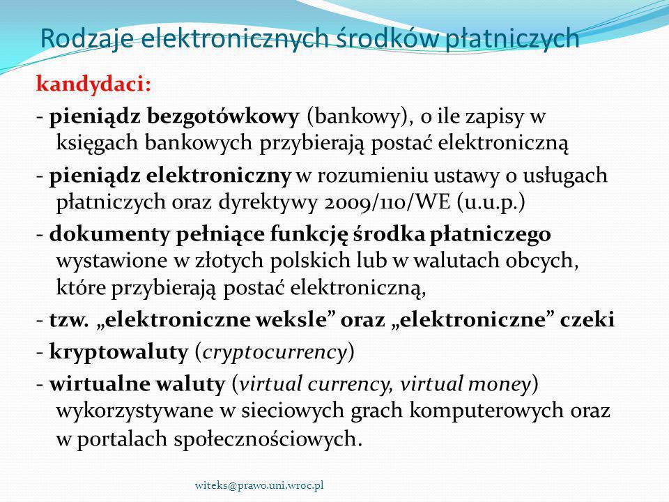 Rodzaje elektronicznych środków płatniczych