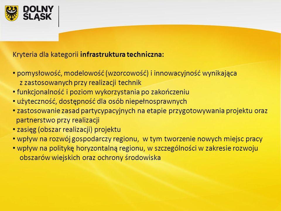 Kryteria dla kategorii infrastruktura techniczna: