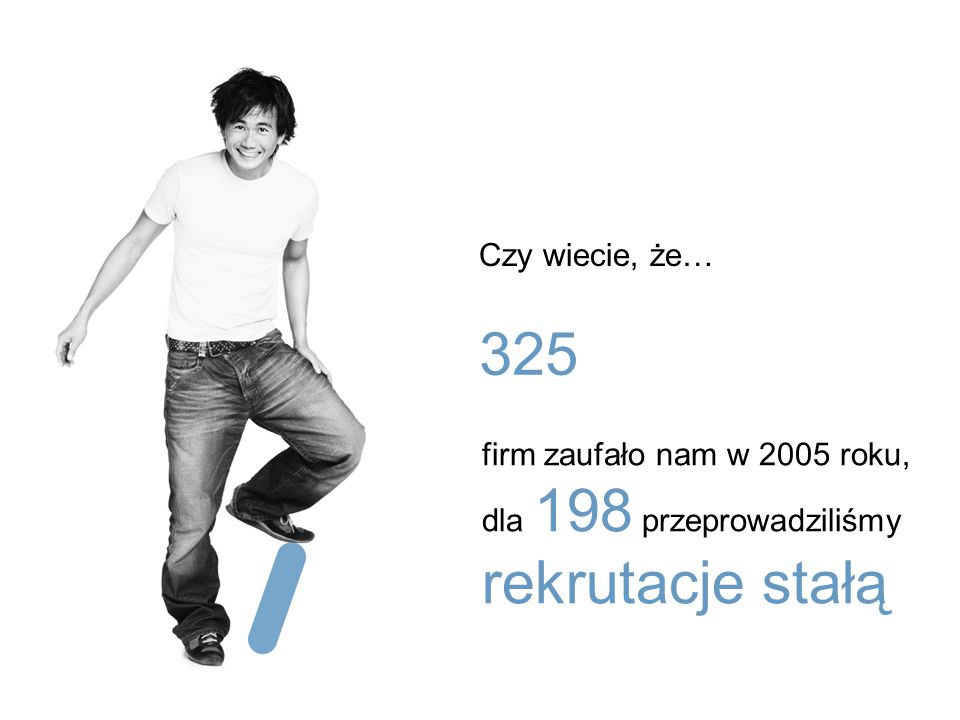Czy wiecie, że… 325 firm zaufało nam w 2005 roku, dla 198 przeprowadziliśmy rekrutacje stałą