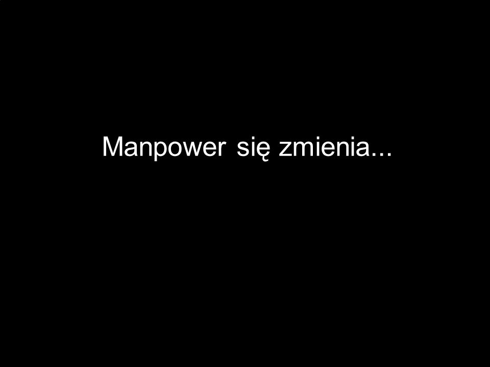 Manpower się zmienia... (Please note: This is essentially the first slide of the presentation.) Speaker: