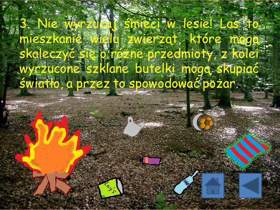 3. Nie wyrzucaj śmieci w lesie