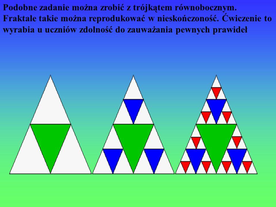 Podobne zadanie można zrobić z trójkątem równobocznym