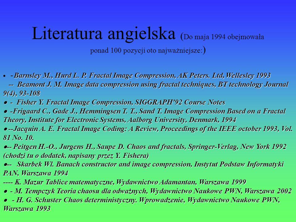 Literatura angielska (Do maja 1994 obejmowała ponad 100 pozycji oto najważniejsze:)