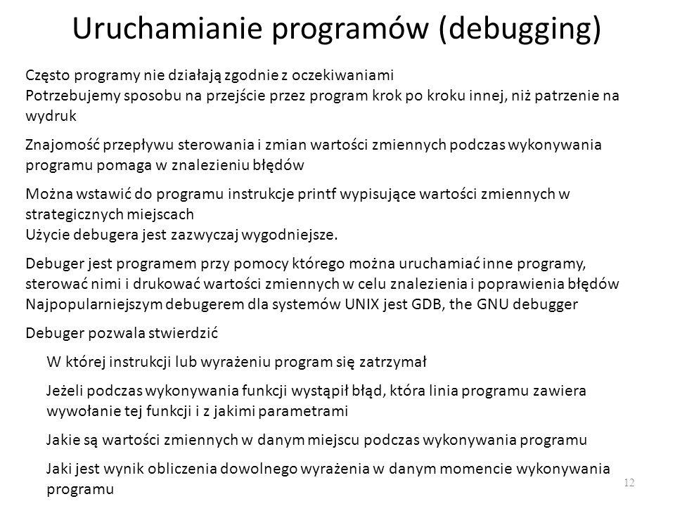 Uruchamianie programów (debugging)