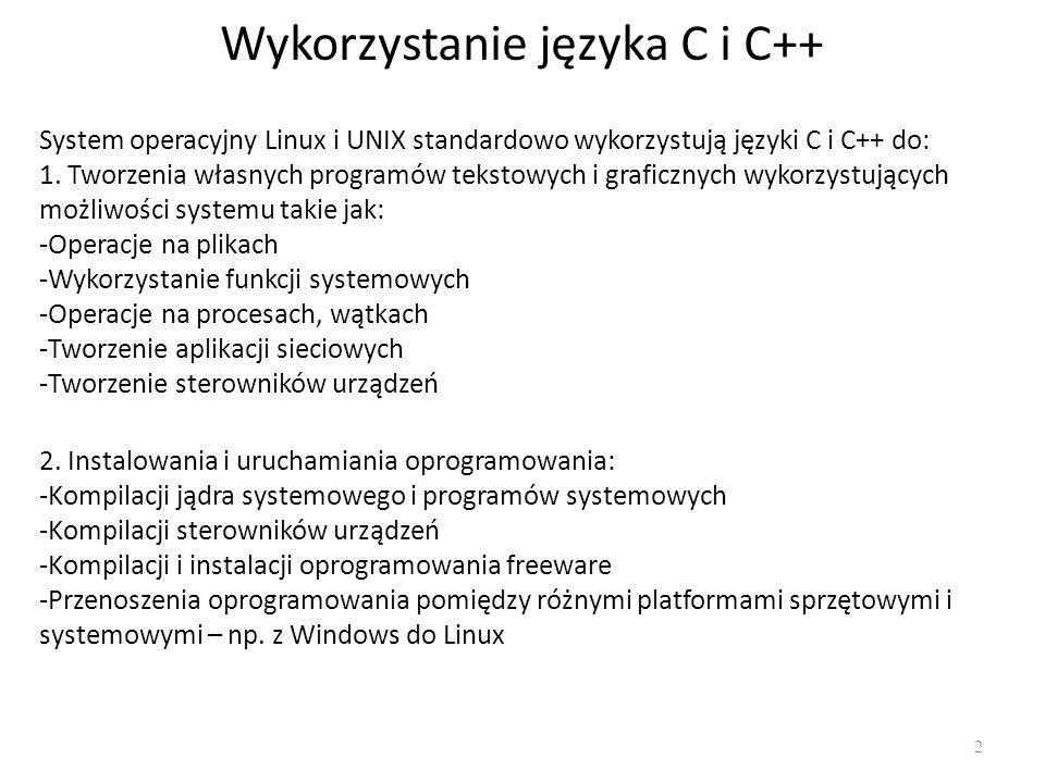 Wykorzystanie języka C i C++