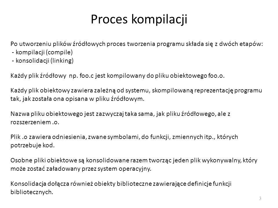 Proces kompilacji Po utworzeniu plików źródłowych proces tworzenia programu składa się z dwóch etapów:
