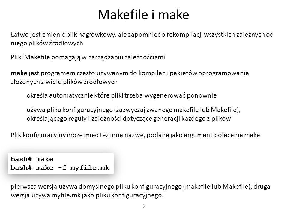 Makefile i make Łatwo jest zmienić plik nagłówkowy, ale zapomnieć o rekompilacji wszystkich zależnych od niego plików źródłowych.