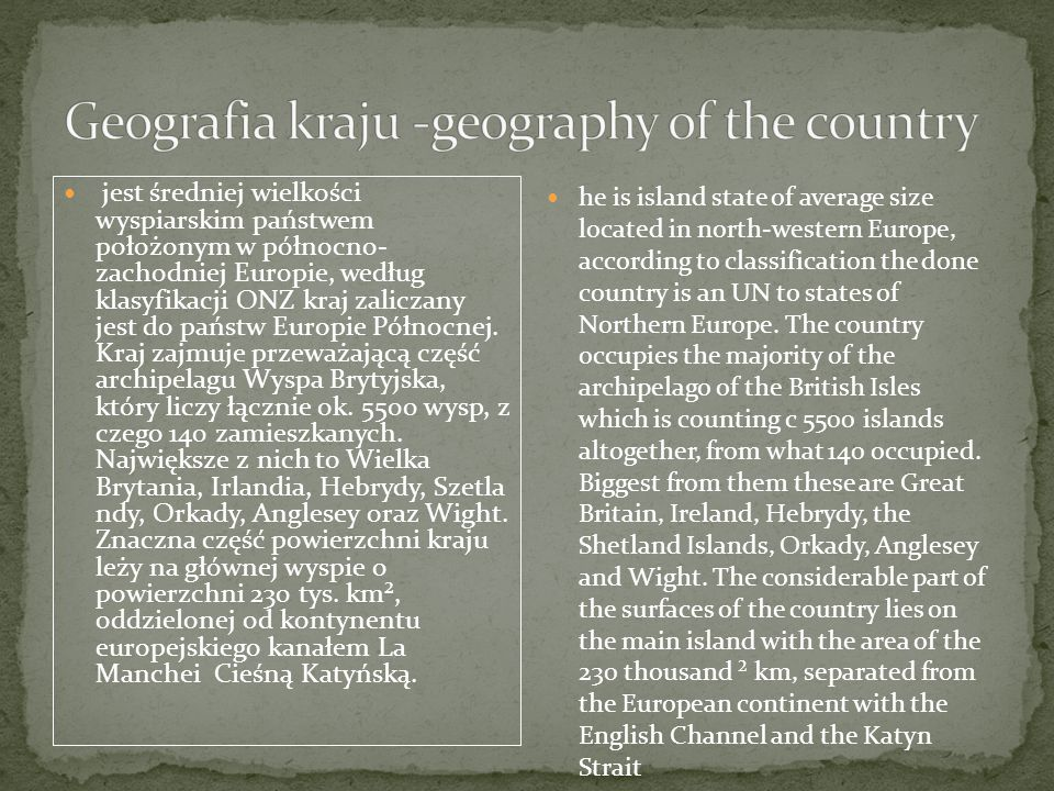Geografia kraju -geography of the country