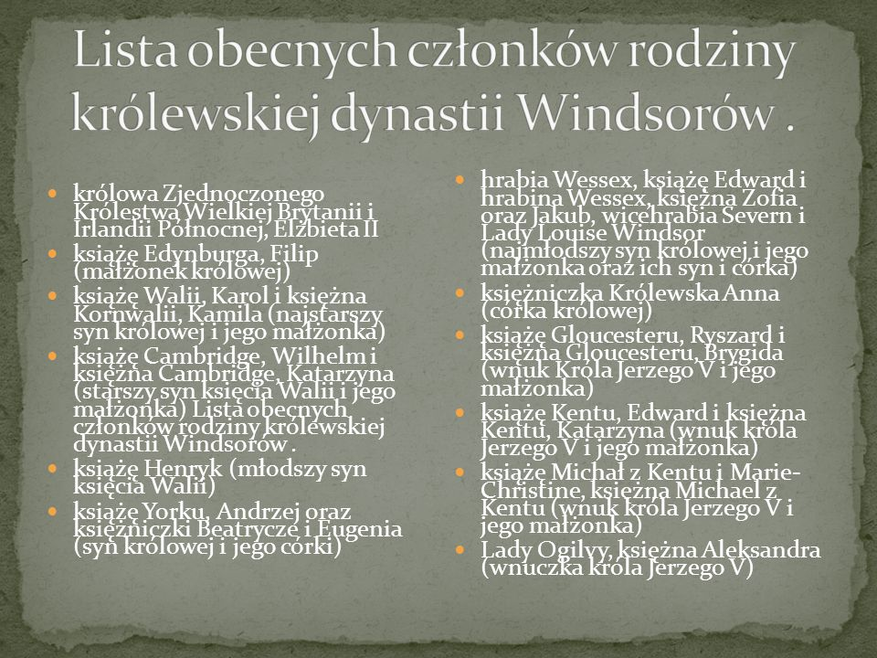 Lista obecnych członków rodziny królewskiej dynastii Windsorów .