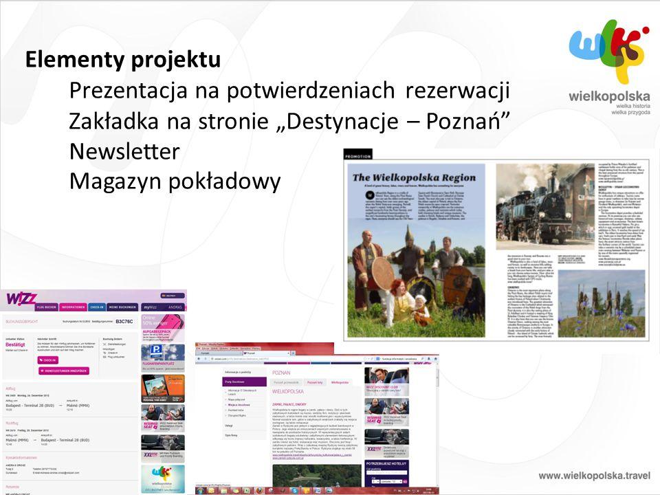 """Elementy projektu Prezentacja na potwierdzeniach rezerwacji Zakładka na stronie """"Destynacje – Poznań Newsletter Magazyn pokładowy"""
