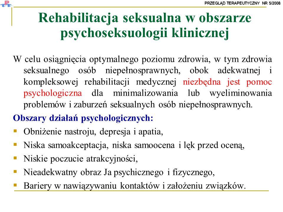 Rehabilitacja seksualna w obszarze psychoseksuologii klinicznej
