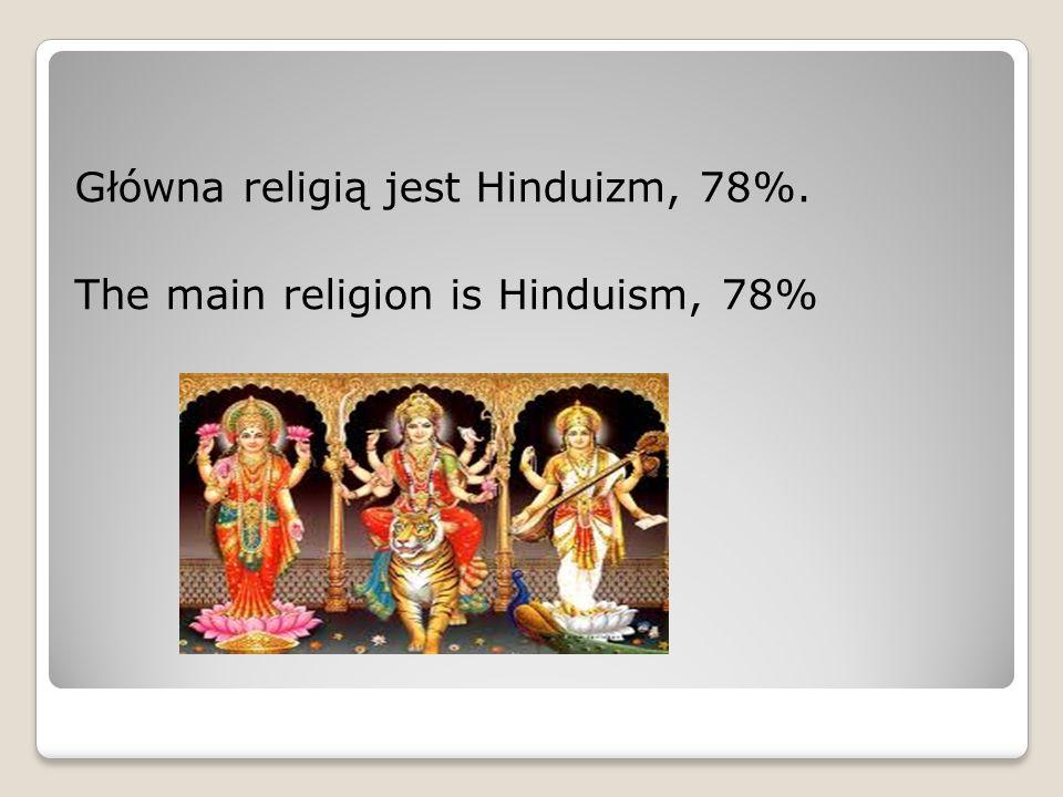 Główna religią jest Hinduizm, 78%.
