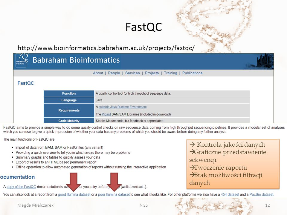 FastQC http://www.bioinformatics.babraham.ac.uk/projects/fastqc/