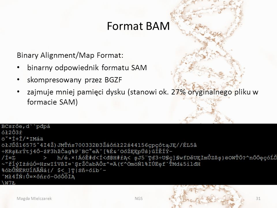 Format BAM Binary Alignment/Map Format: