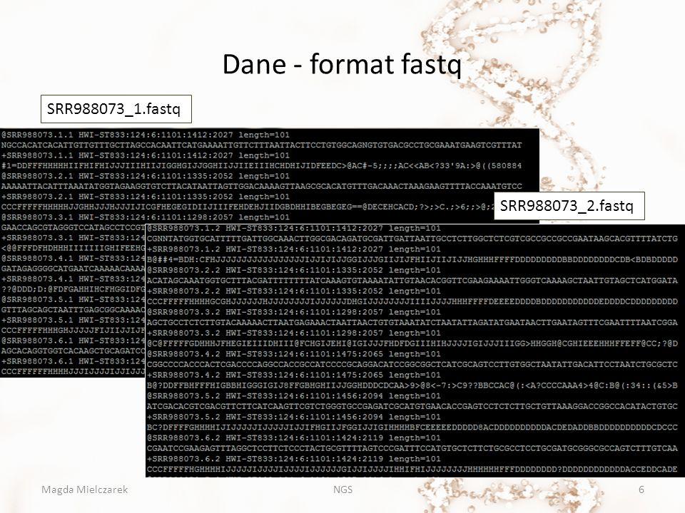 Dane - format fastq SRR988073_1.fastq SRR988073_2.fastq