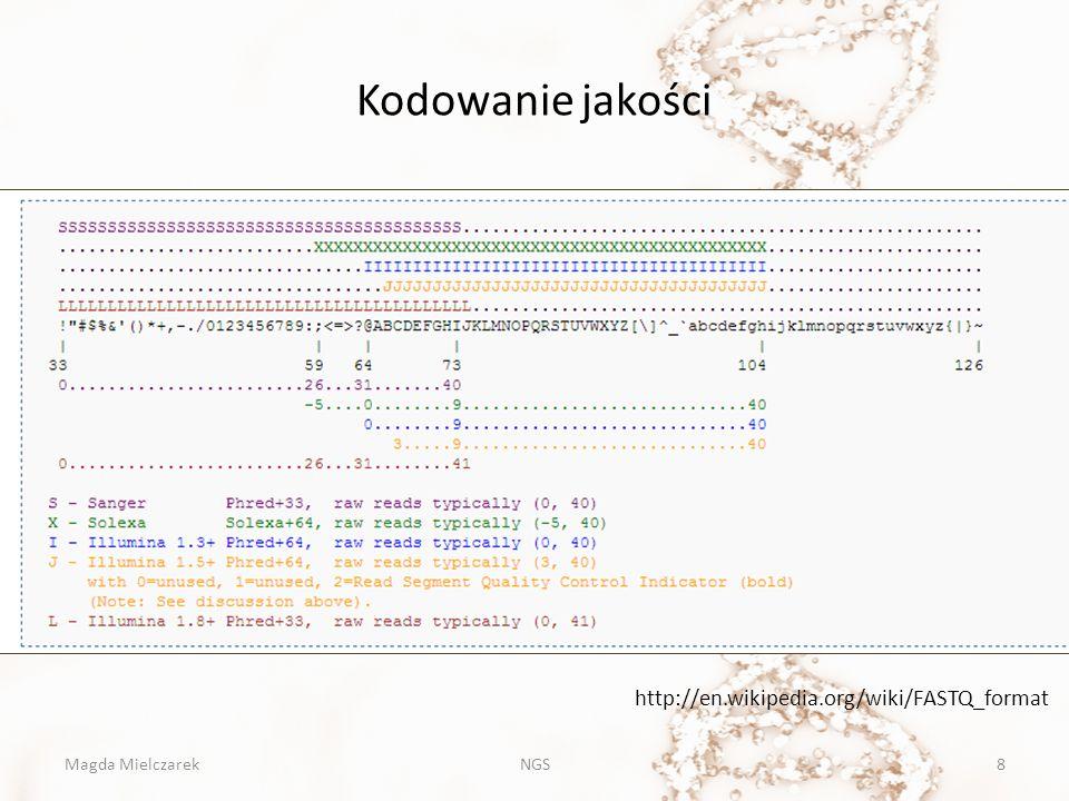 Kodowanie jakości http://en.wikipedia.org/wiki/FASTQ_format