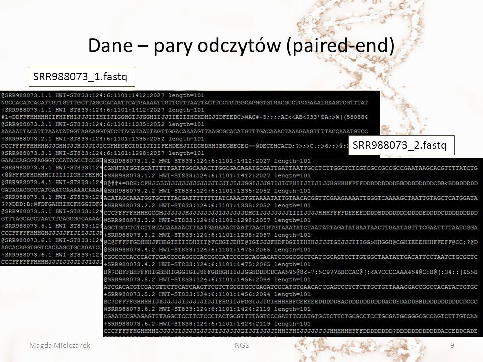 Dane – pary odczytów (paired-end)