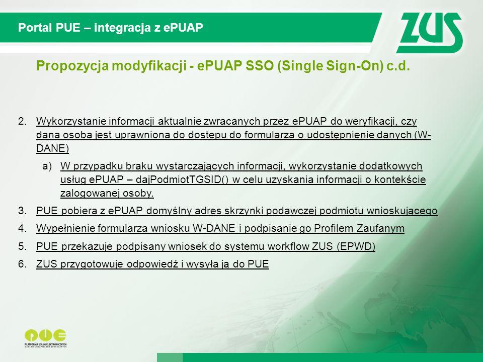 Propozycja modyfikacji - ePUAP SSO (Single Sign-On) c.d.