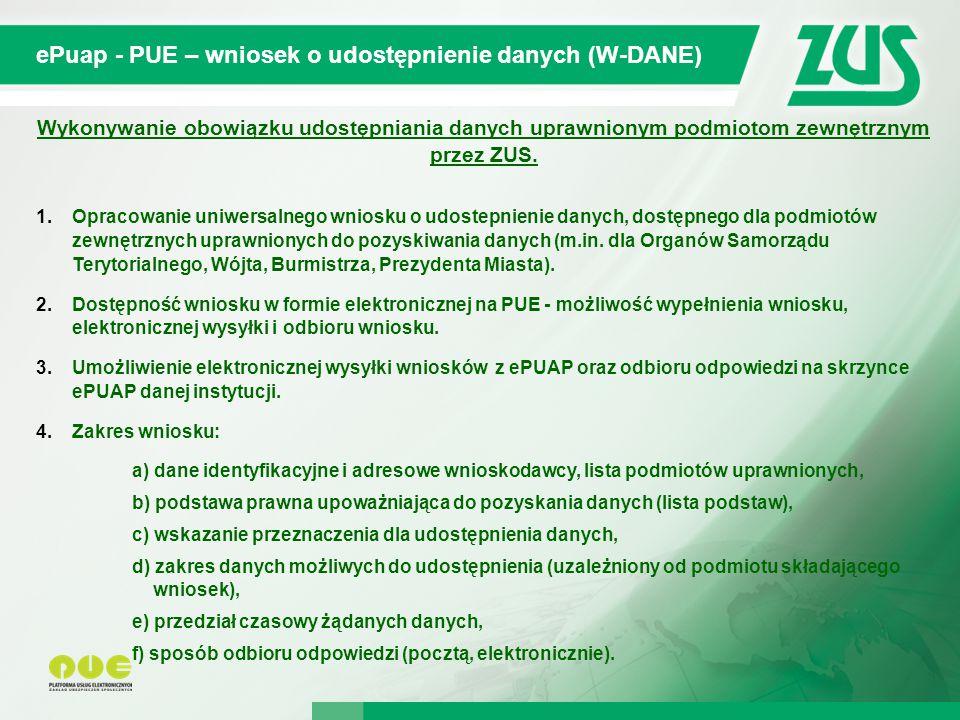 ePuap - PUE – wniosek o udostępnienie danych (W-DANE)