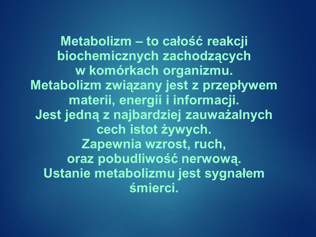 Metabolizm – to całość reakcji biochemicznych zachodzących