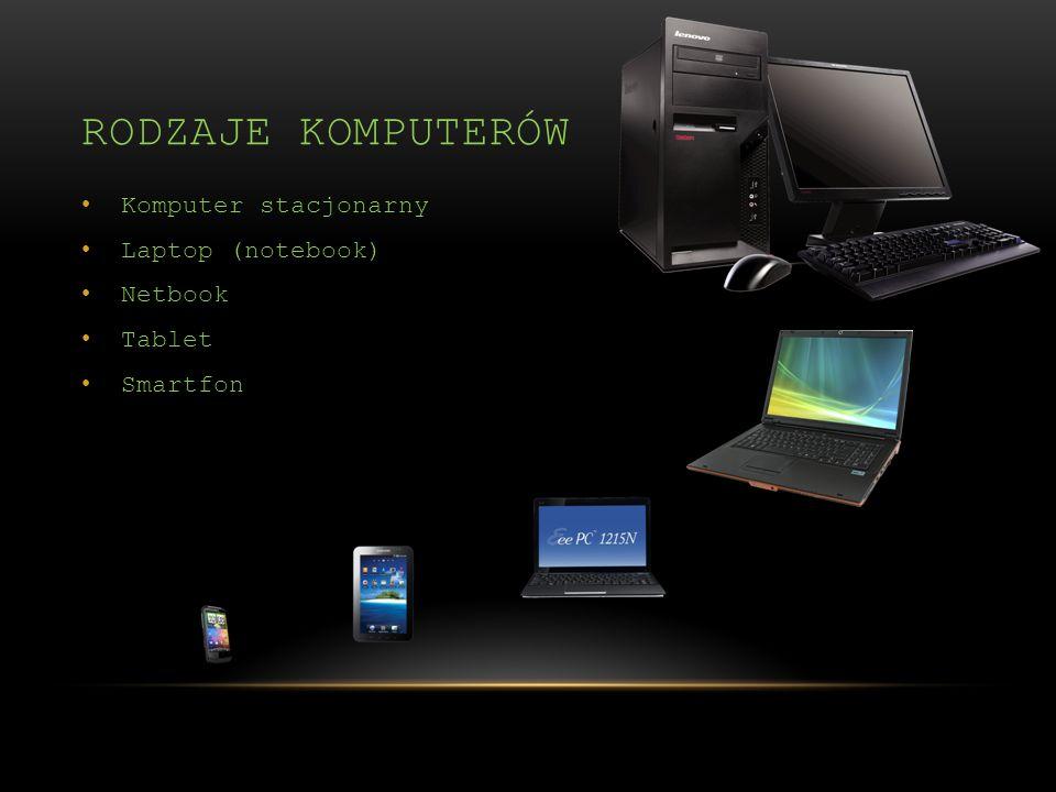 Rodzaje komputerów Komputer stacjonarny Laptop (notebook) Netbook