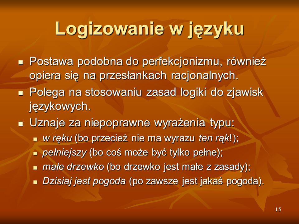 Logizowanie w języku Postawa podobna do perfekcjonizmu, również opiera się na przesłankach racjonalnych.