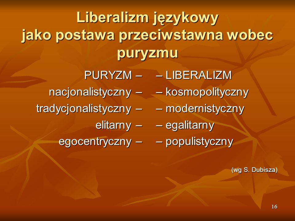 Liberalizm językowy jako postawa przeciwstawna wobec puryzmu